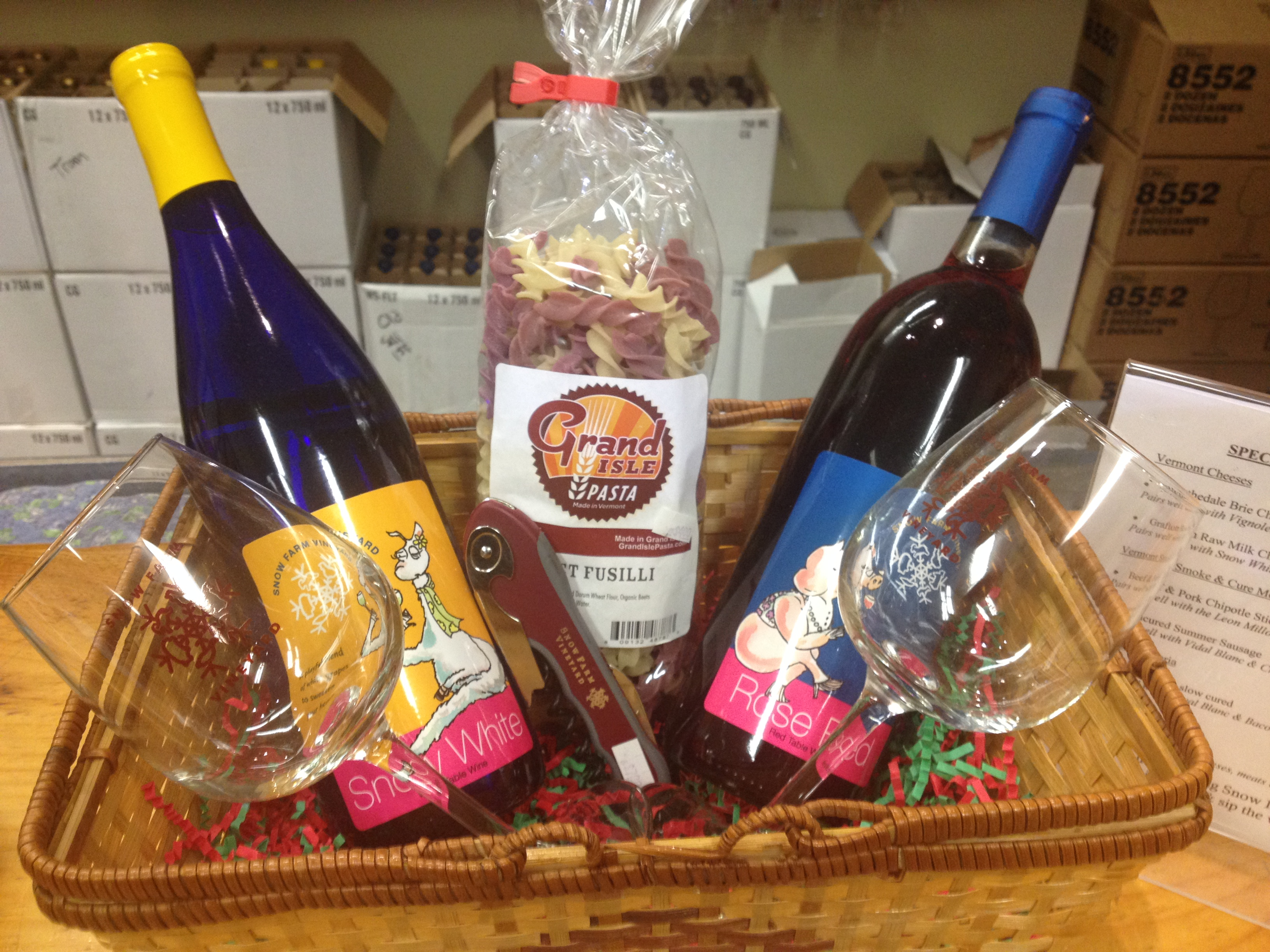 Support Small Business Snow Farm Vineyard Vermont Gift Basket